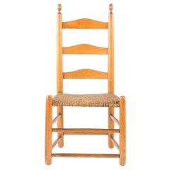 18th Century American Pine Ladder Back Chair with Original Woven Seat