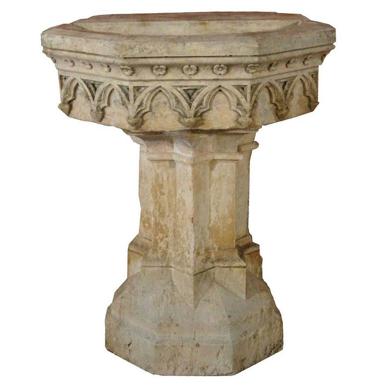 French Gothic Revival Hard Stone Fountain Pedestal Basin at 1stdibs