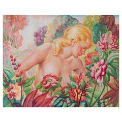 """Nude in Tropical Garden,"" Brilliantly-Hued Art Deco Painting by Cenci, 1949"