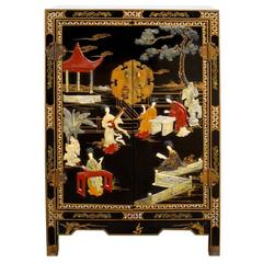 Chinese Black Lacquer Hardstone Scholars Cabinet
