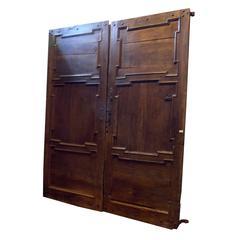 Antique Walnut Entry Double Door