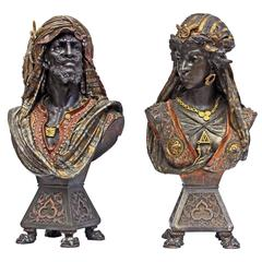 Pair of French Antique Orientalist Spelter Busts of Abyssinian Warriors