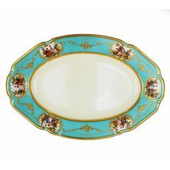 Large Vintage Porcelain Platter Blue Aqua Gold Thomas Bavaria, circa 1930