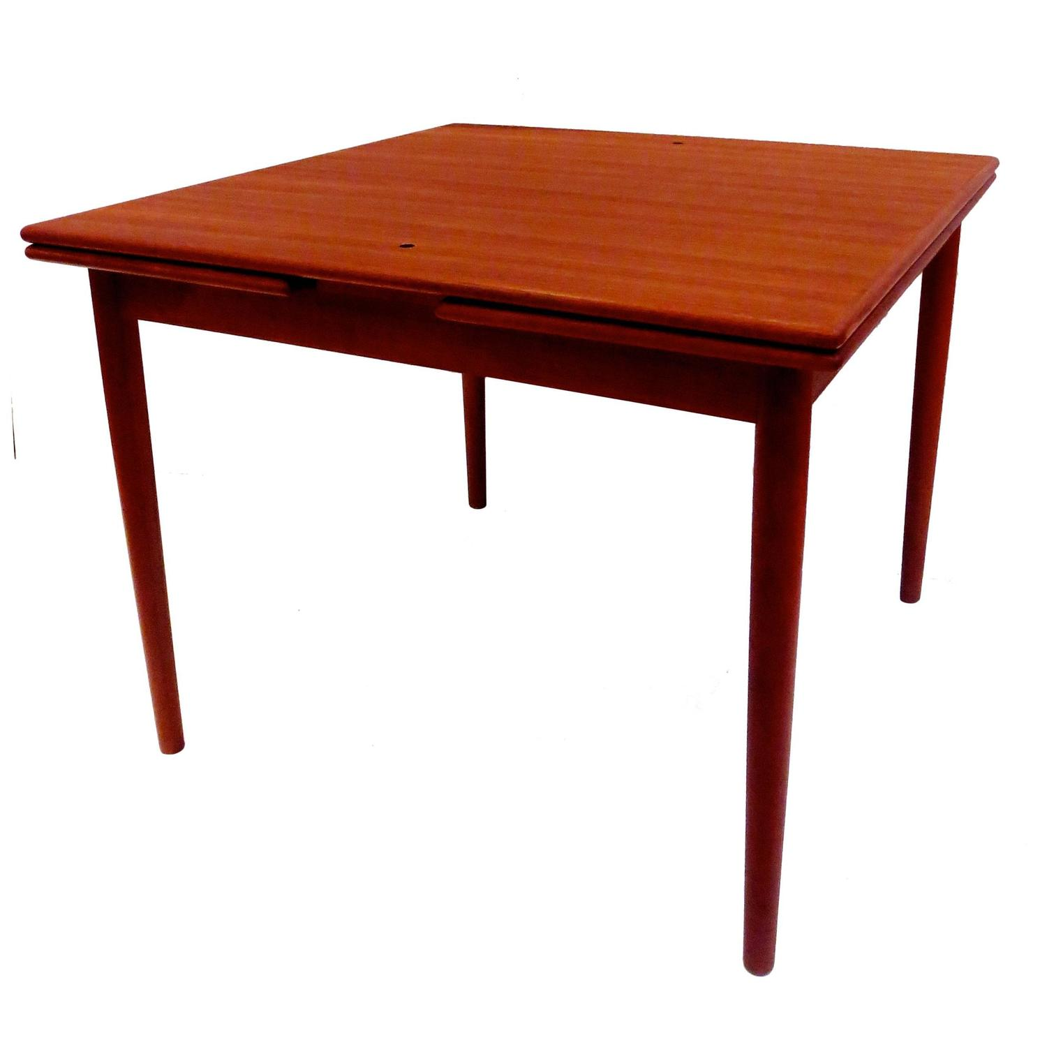 Georg petersen danish modern flip top teak and leather for Danish modern dining room table