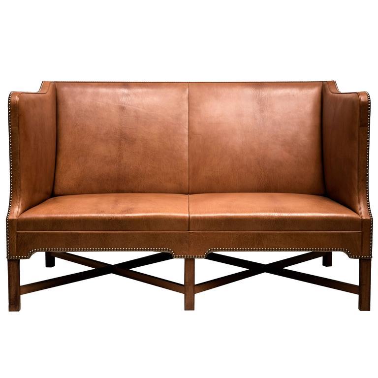2 1/2 Person Sofa in Nigerian Goatskin on Cuban Mahogany Legs by Kaare Klint