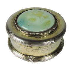 English Arts & Crafts Period Silver and Persian Turquoise Powder Box