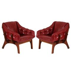 Pair of Oak and Leather Bone Chairs