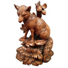 Late 19th Century Swiss Black Forest Fox Carving