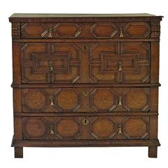 Charles II Oak Paneled Chest England, circa 1680 in Two Parts