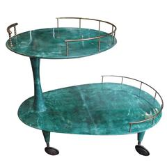 Italian Serving Cart by Aldo Tura in Green Painted Parchment, 1960s