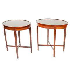 Vintage Pair of Oval Mahogany Side Tables