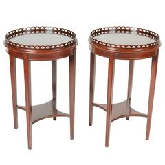 Antique Pair of Round Mahogany End Tables