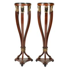 Vintage Pair of Tall Pedestal Tables