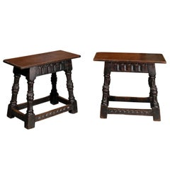 Unusual Pair of English 1900s Joint Stools with Carved Legs, Skirt and Stretcher