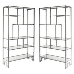 Pair of Milo Baughman DIA Chrome Greek Key Étagerès Shelves Glass