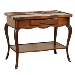Large Louis XV Mid-Century Marble-Topped Rafraichissoir with Copper Wine Coolers