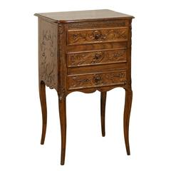 18th-19th Century French Fruitwood Bedside Table with Drawer and Door