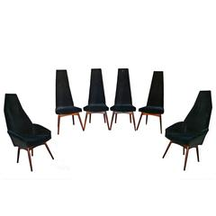 Six Adrian Pearsall Tall Back Dining Chairs