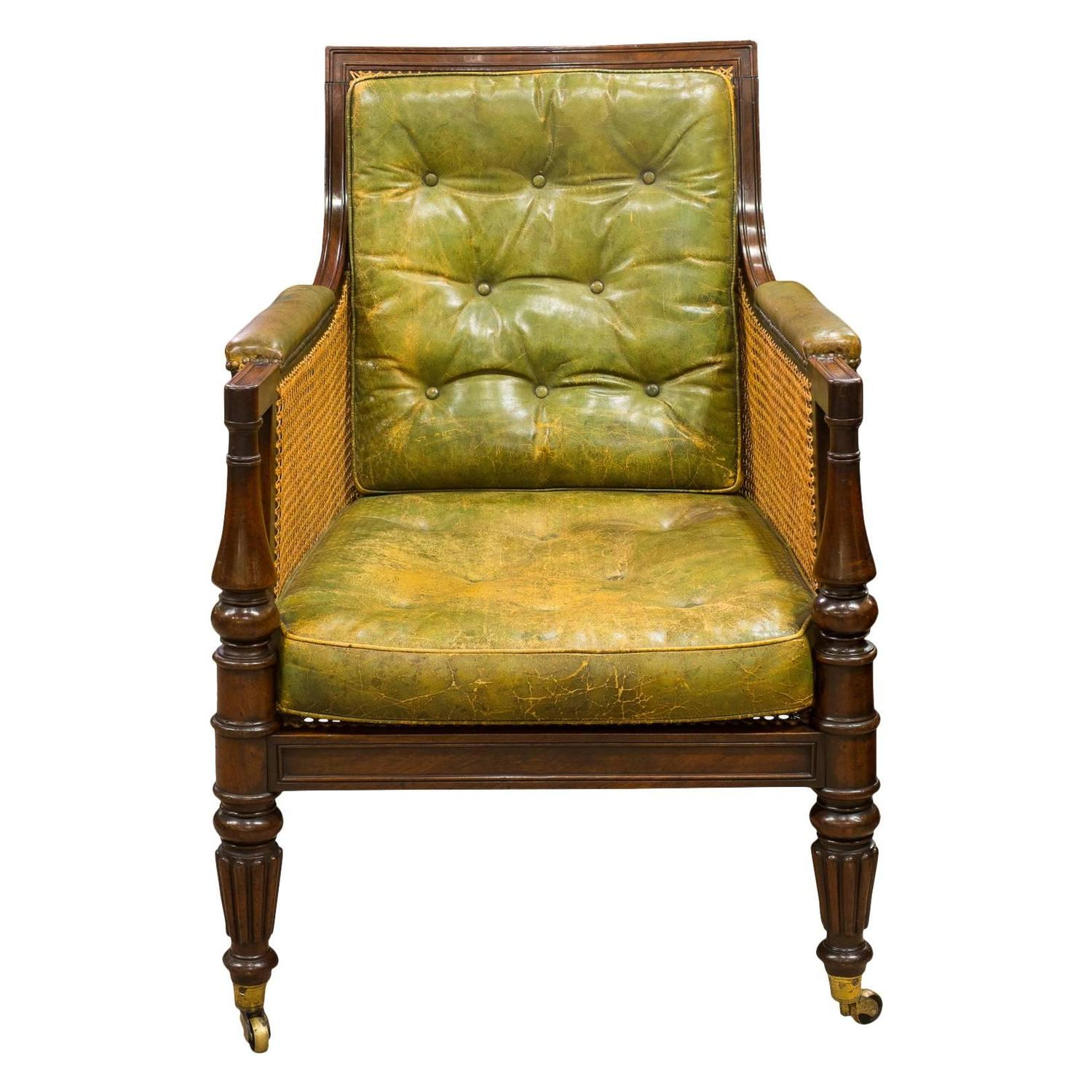 Regency Bergere Mahogany Library Chair For Sale at 1stdibs