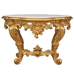 Italian 19th Century Baroque Giltwood and Marble Oval Center Table