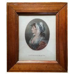 """18th Century Color Engraving, """"A St. Giles's Beauty"""""""