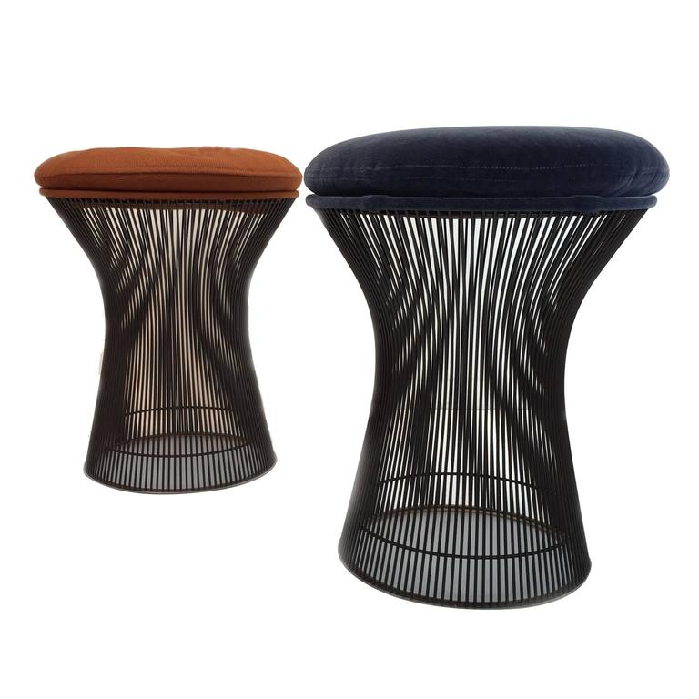 Rare Pair of Bronze Stools by Warren Platner For Sale