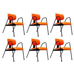 Six Orange Industrial Armchairs F1 by Willy Van Der Meeren for Tubax, Belgium