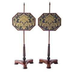 Very Fine and Decorative Pair of Early 19th Century English Regency Pole Screens