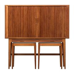 Kurt Østervig Bar Cabinet with Two Side Tables by K.P Møbler in Denmark