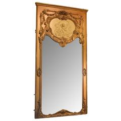 French Giltwood and Gesso Trumeau or Mirror