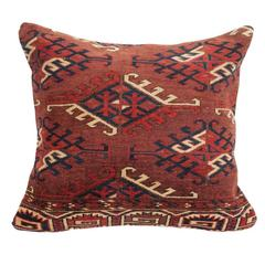 Antique Yomut Turkmen or Turkoman Pillow, Central Asia, 19th Century