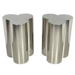 Pair of Custom Trefoil Dining Table Base Pedestals in Mirror Stainless Steel