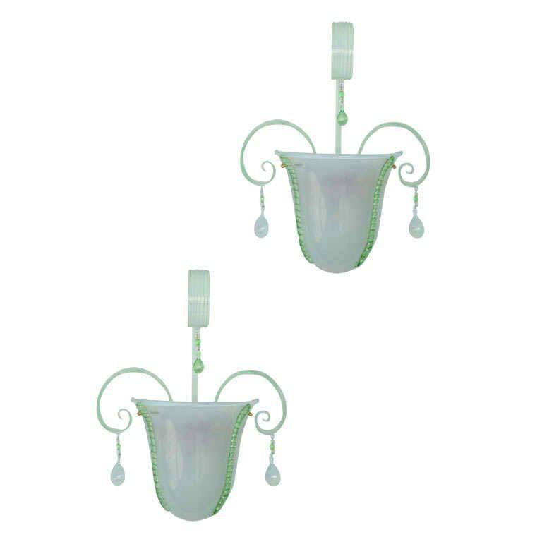 Pair of Murano Glass Wall Lights