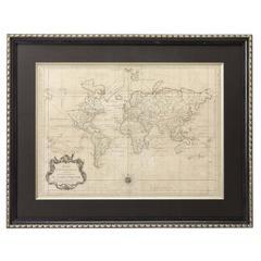 "1748 World Map ""Essay D'un Carte Requite Du Globe Terrestre"" by N. Bellin"