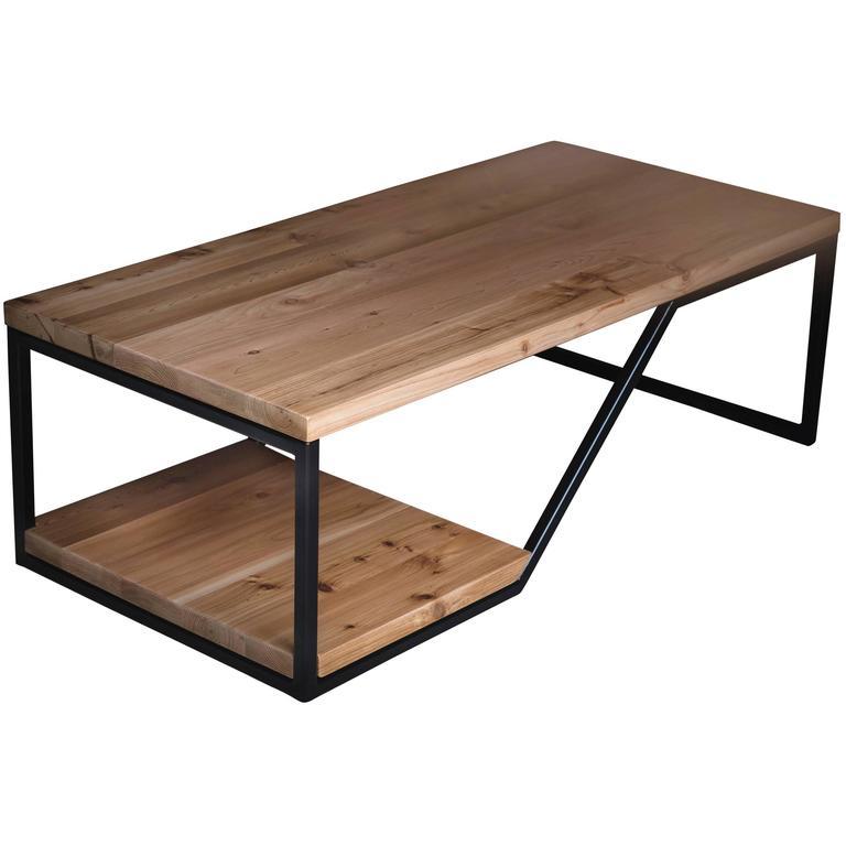 The Doppio, Modern Wood and Powder Coated Steel Coffee Table