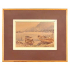 Charles William Adderton Watercolor of Boats on Shore