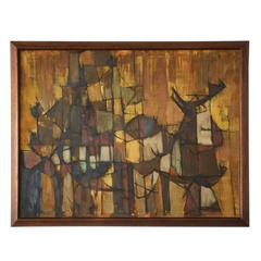 Signed Joseph Fassbender Abstract Oil Painting in Walnut Frame