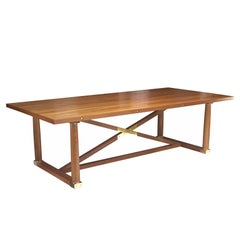 Carden Dining Table in Oiled Teak with Brass Hardware