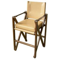 MacLaren Bar or Counter Chair in Oiled Walnut with Leather Upholstery