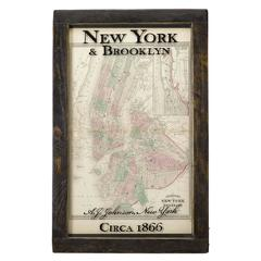 """""""Johnson's New York and Brooklyn"""" 1866 Map in Antique Windowpane Frame"""