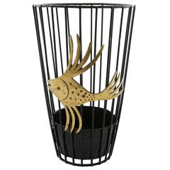 Umbrella Stand Fish, Brass Blackened Metal, Walter Bosse, Austria, 1950s