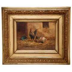 19th Century French Oil on Board Chicken Painting in Gilt Frame Signed Morlet
