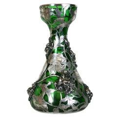 Exceptional Art Nouveau 3D Silver Overlay Vase, Alvin Mfg