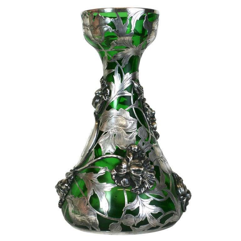 Exceptional Art Nouveau 3D Silver Overlay Vase, Alvin Mfg For Sale