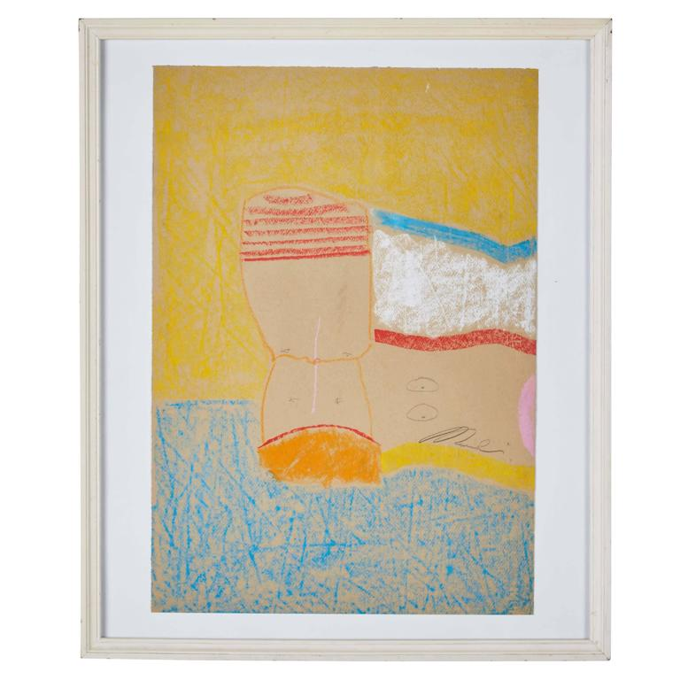 Framed Abstract Pastel on Paper