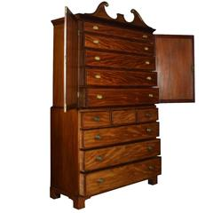 Fine 18th Century George III Period Mahogany Gentleman's Cabinet on Chest