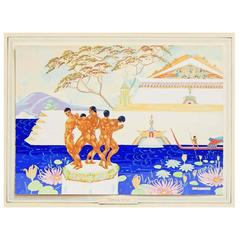 """Timur 'Imu,"" Exotic Asian Fantasy, Art Deco Painting with Male Nudes"