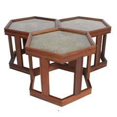 John Keal for Brown Saltman Hexagonal Nesting, Coffee, Side or End Tables