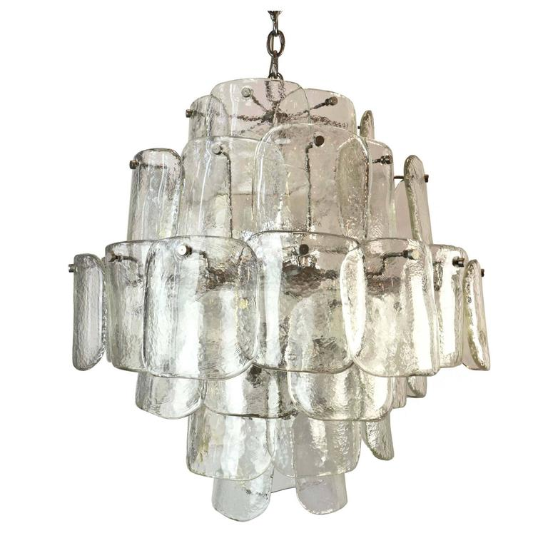 Glass Plate Mazzega Chandelier Circa 1960 At 1stdibs