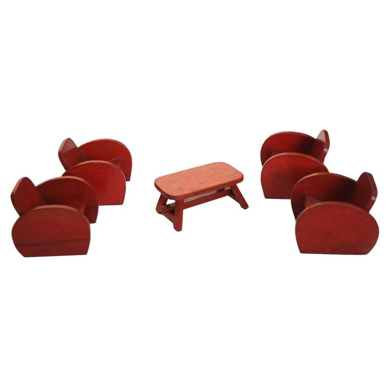 Dollhouse Furniture Set with Four Club Chairs and Coffee Table, Red Wood, 1960s For Sale